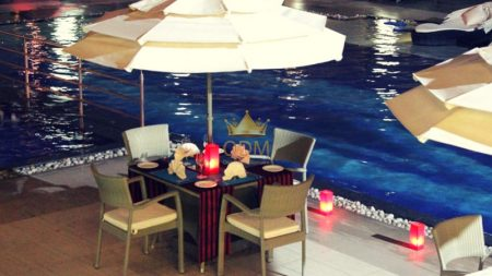 Poolside candlelight dinner at The Lalit, New Delhi