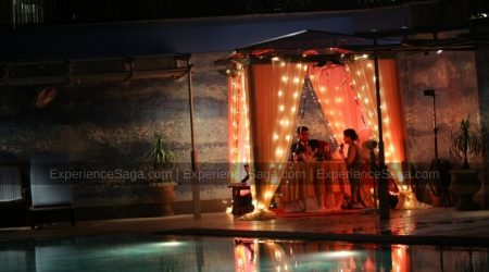 Private poolside candlelight dinner at 5 star hotel delhi