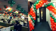 Independe Day Balloon Decoration Office Showroom
