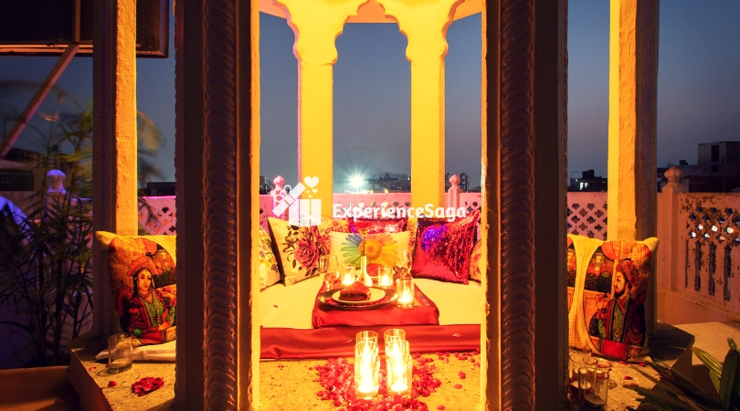 rooftop candlelight dinner restaurant in Jaipur